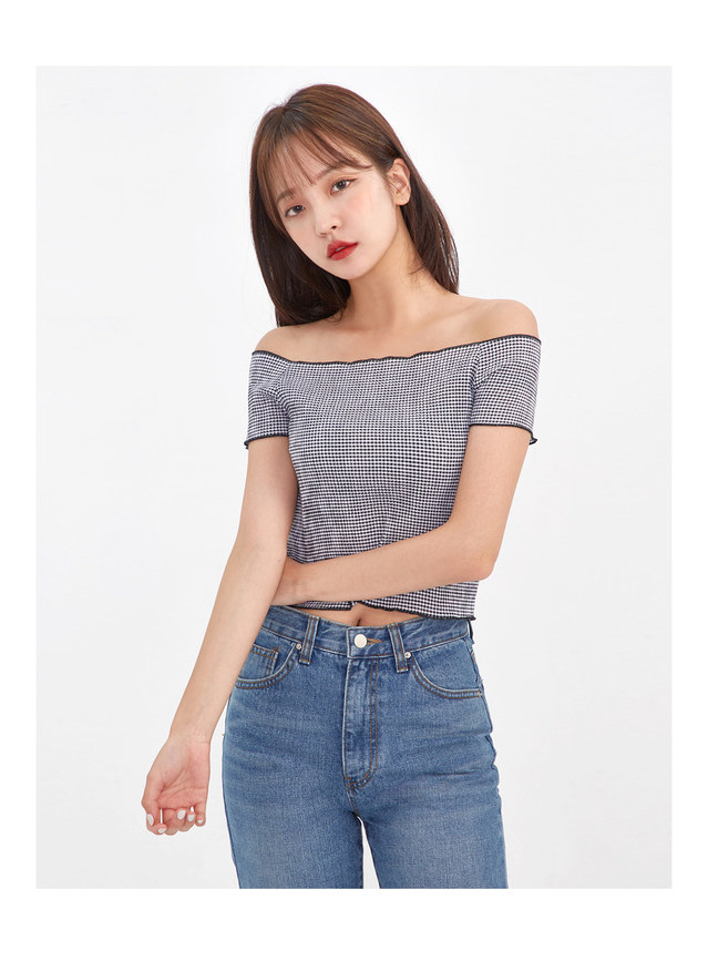 gingham check crop T