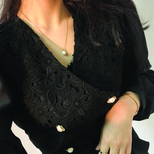 Ruby lace puff blouse
