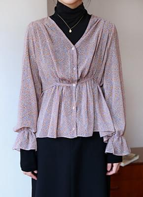 Adele Flower Shirring Blouse