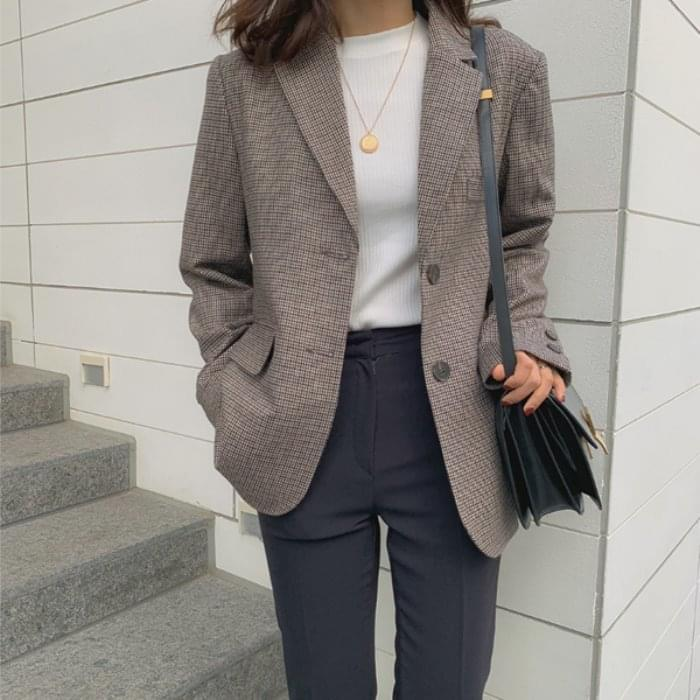 Mini Houndstooth Wool Jacket