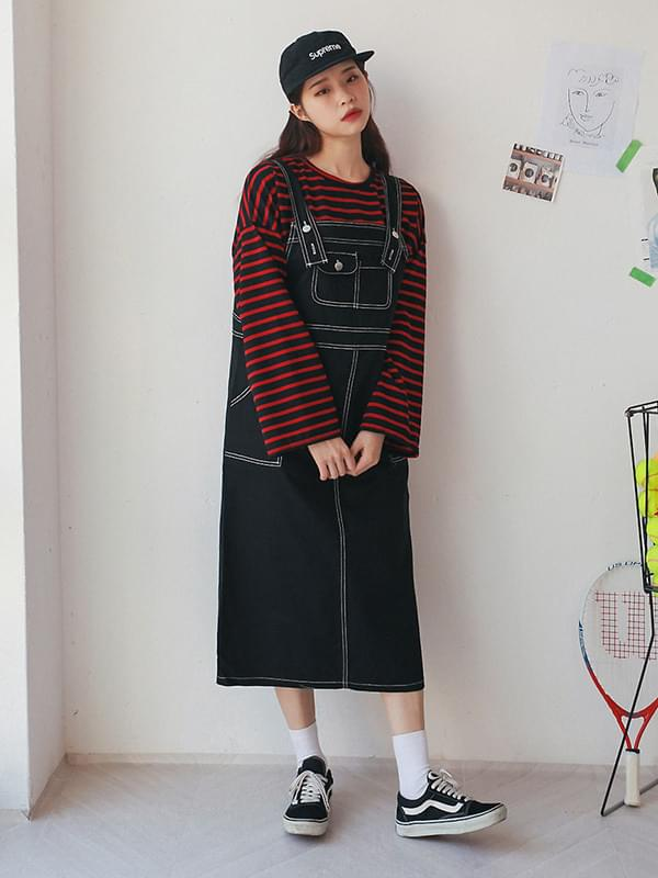 Natural Stitch Long dress with suspenders