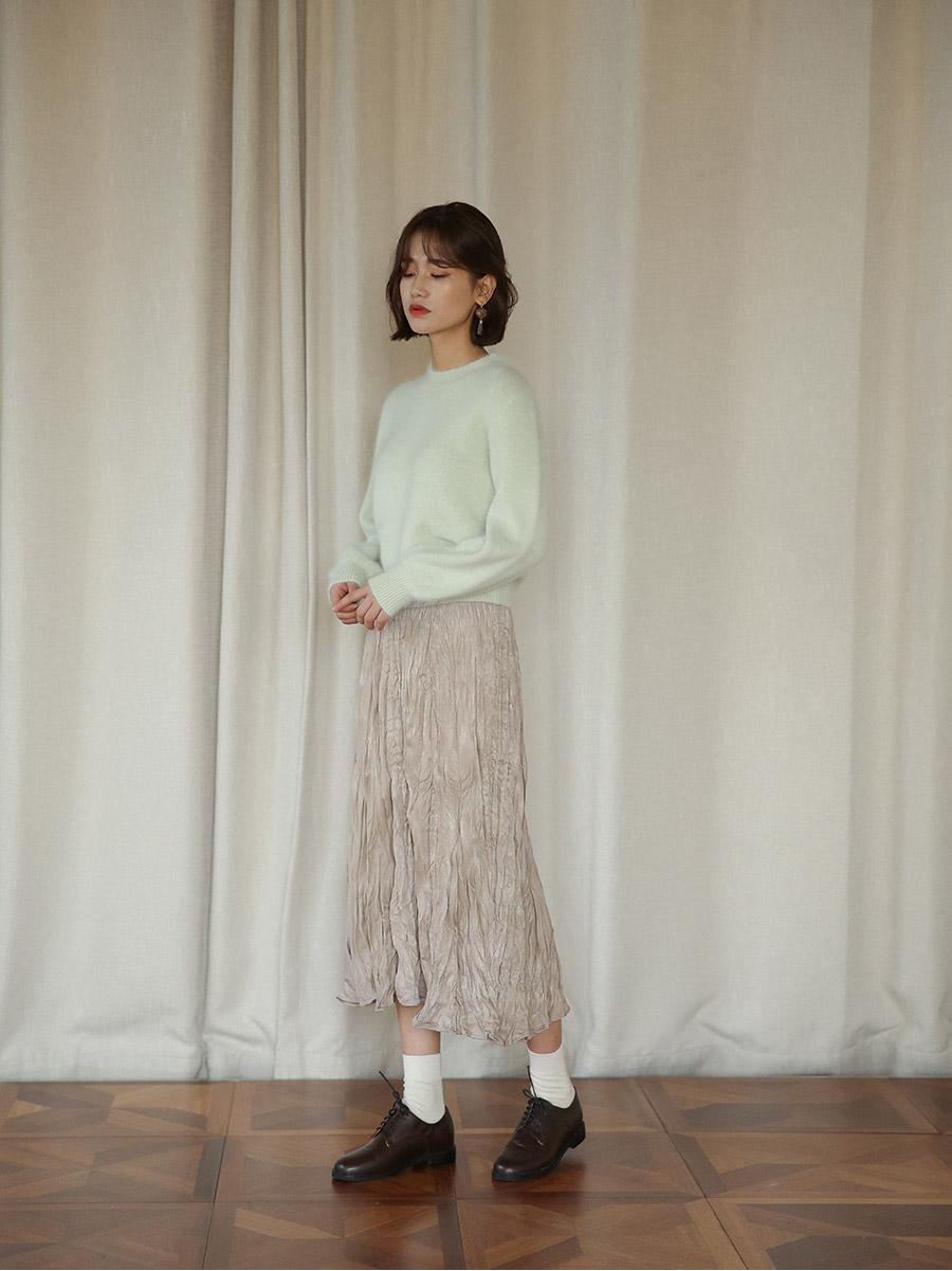 angora puff sleeve knit
