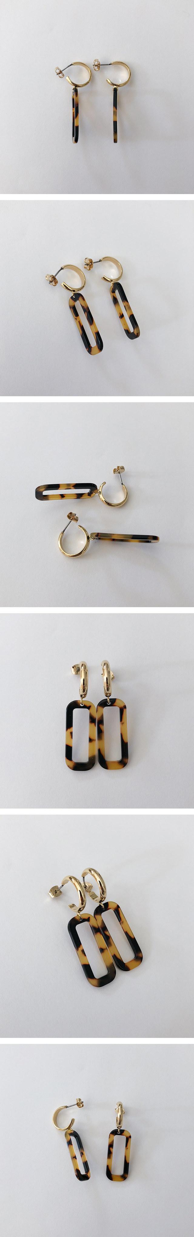 square leopard earring