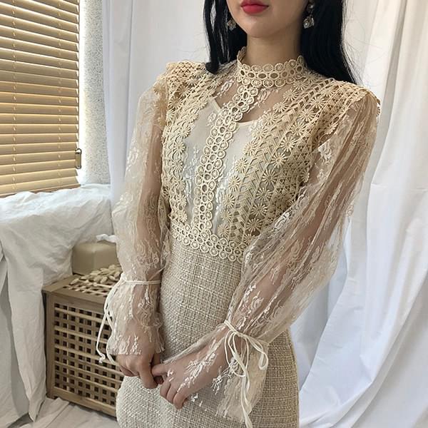 Lace Sleeve Tweed Dress