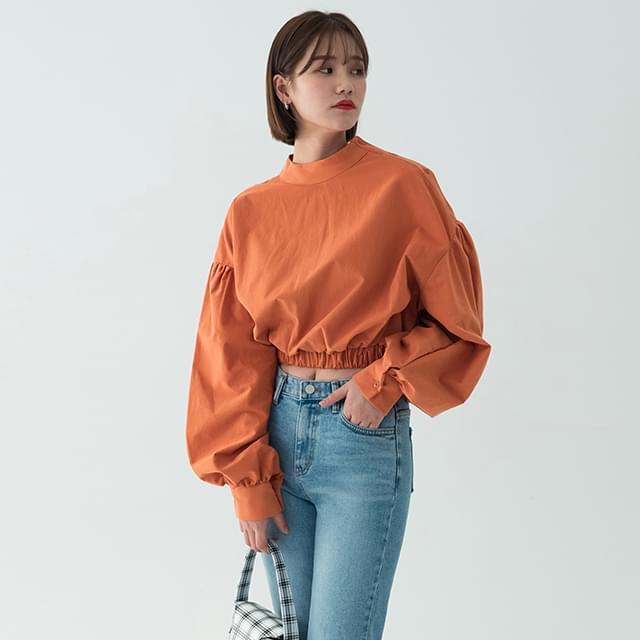 unique puff crop blouse