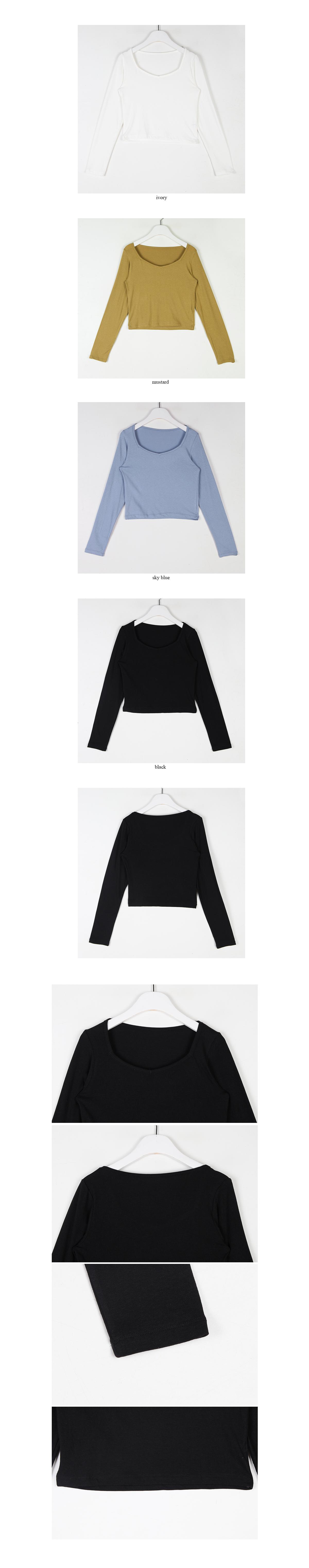 deep neck crop t-shirt (4colors)
