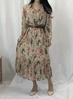 Belt V Neck Chiffon Long Dress