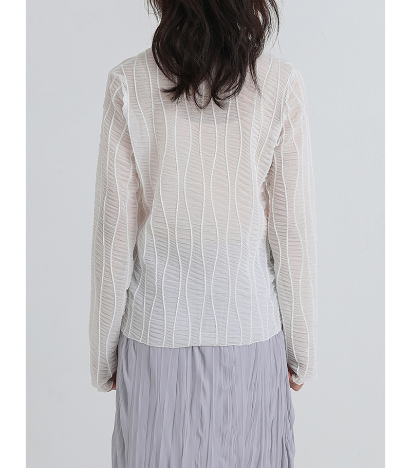 wave see-through blouse