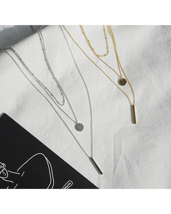 Stick and Coin Layered Necklace Set-2color