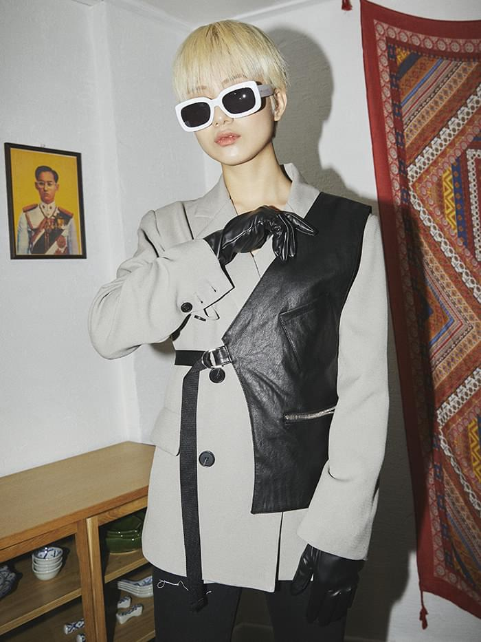layered half vest (3 color) - UNISEX