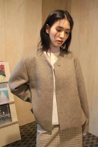 side open non-collar jacket (brown)