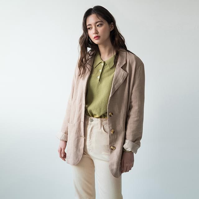 Tailored simple linen jacket