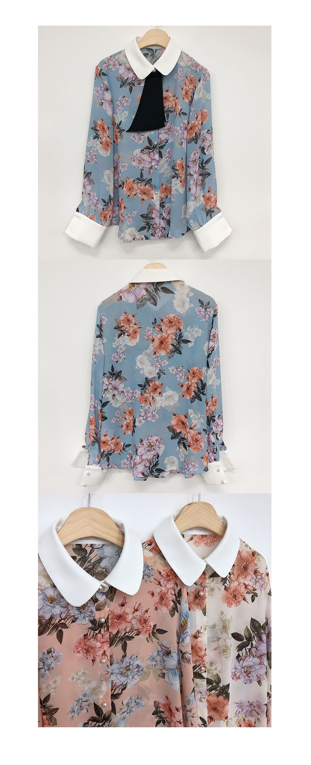 Order rush ♥ flower flower tie blouse