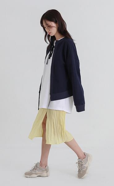 spring crease banding midi skirt