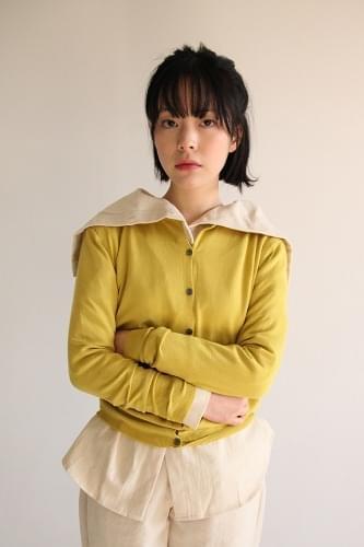 nacre button slim cardigan (4colors)