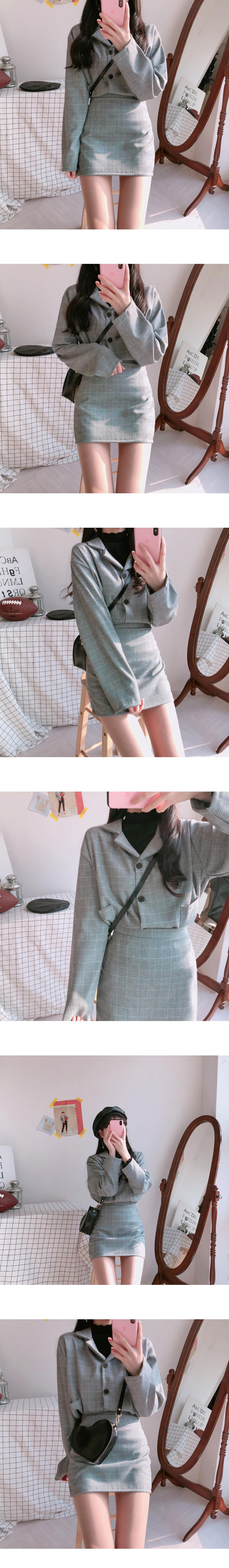Momo check short jacket