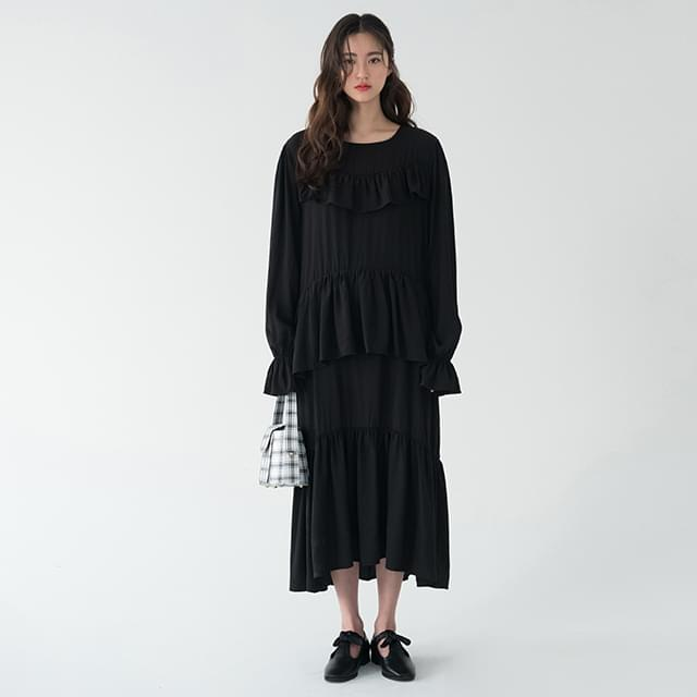 round neck frill long ops