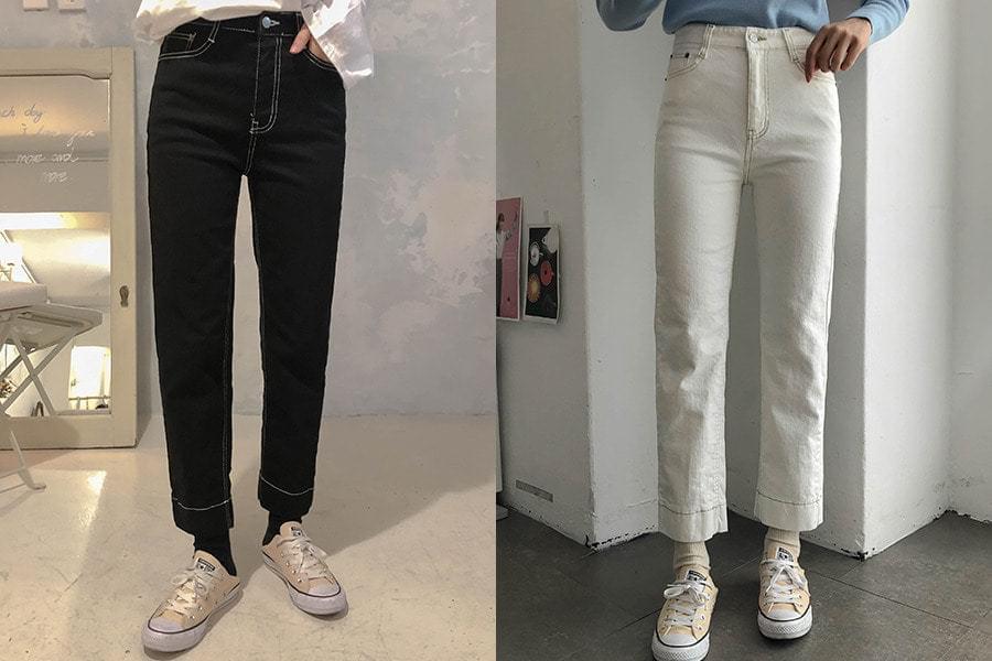 Cropped Stitch Pants