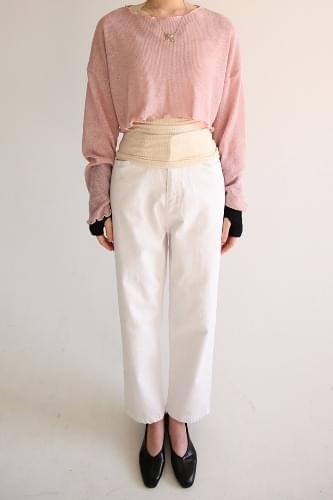 ivory straight cotton pants