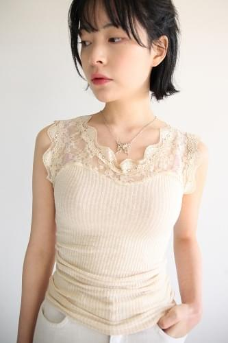lace ribbed sleeveless (3colors)