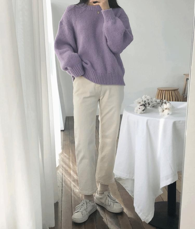 9216 brushed straight cotton pants