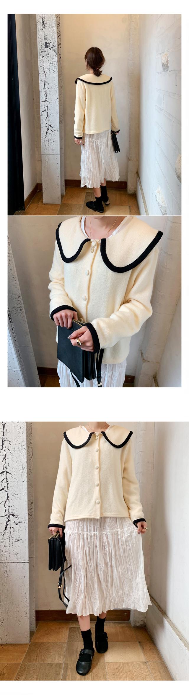 Round neck cardigan