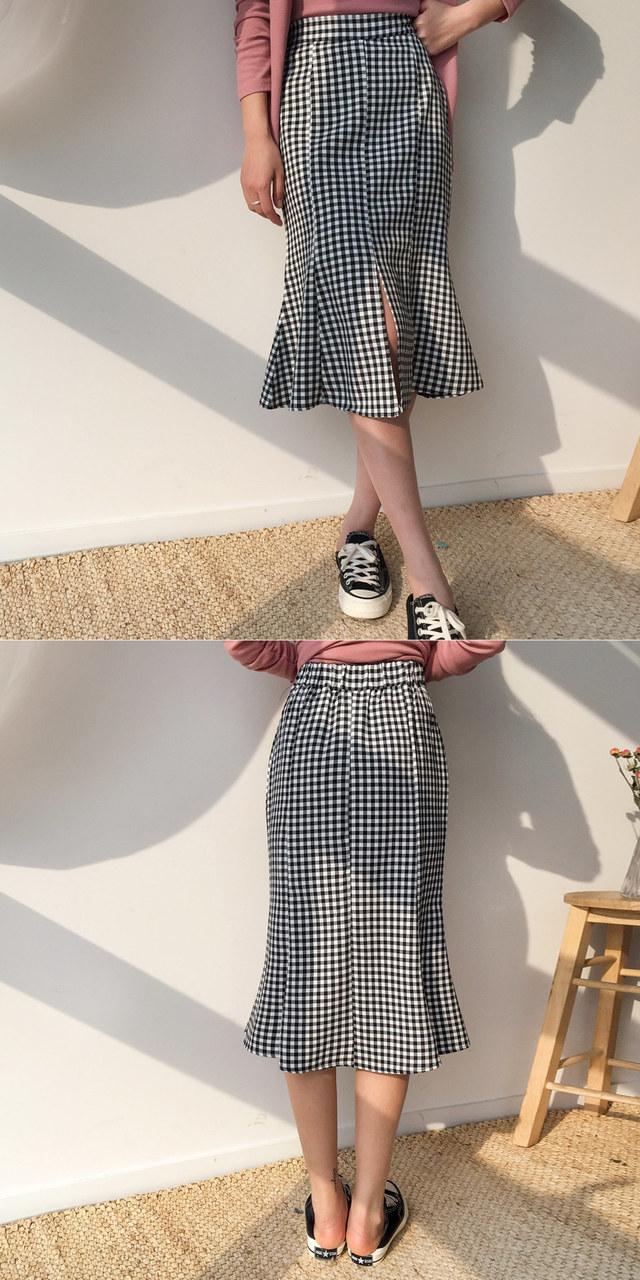 Queen Check Long Skirt