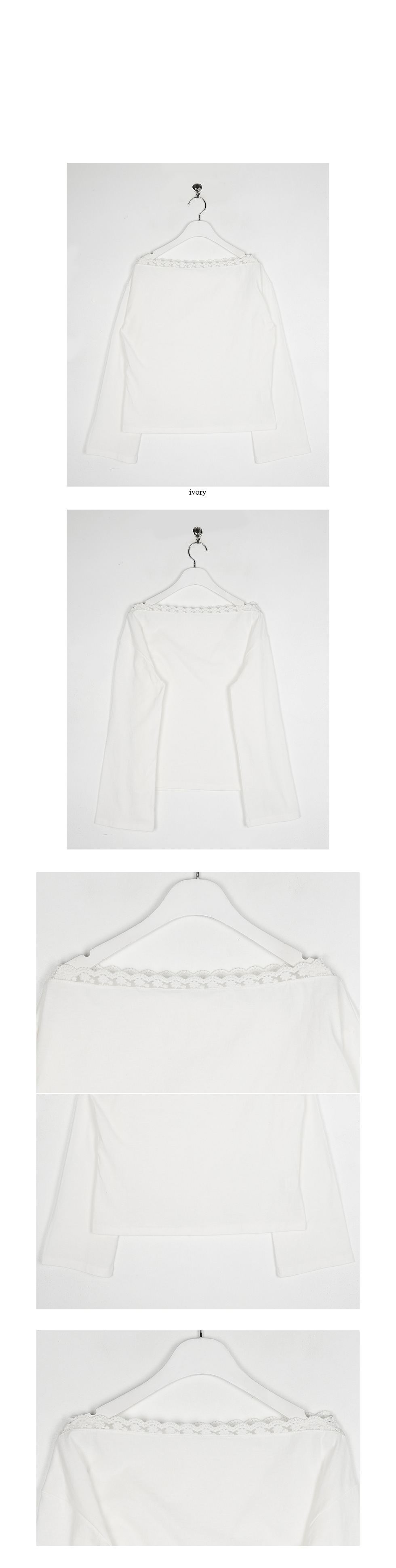 lace line boat-neck cotton top