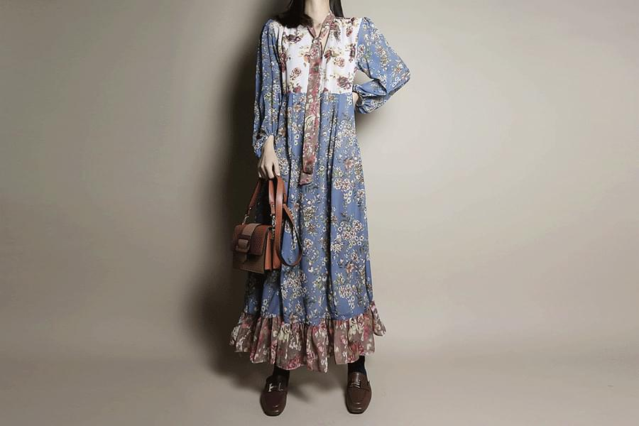 Multi Flower Chiffon Maxi Dress _op02959