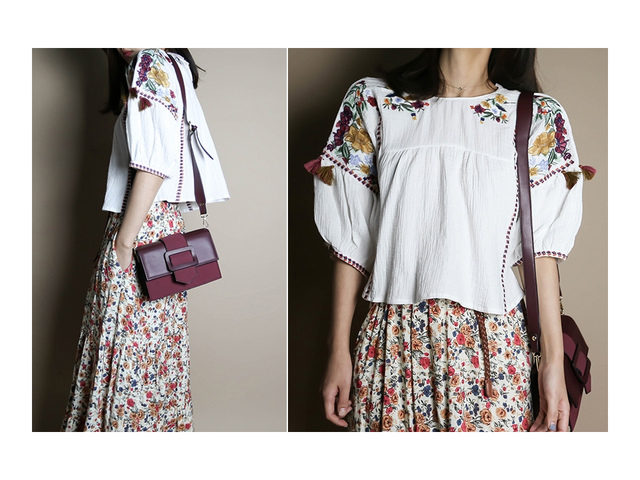 Flower embroidered crop blouse _bl02960