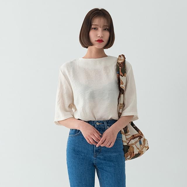6-length sleeve crease blouse