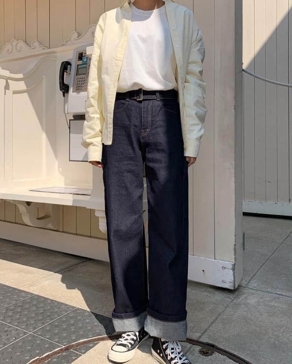 feel wide long belt pants