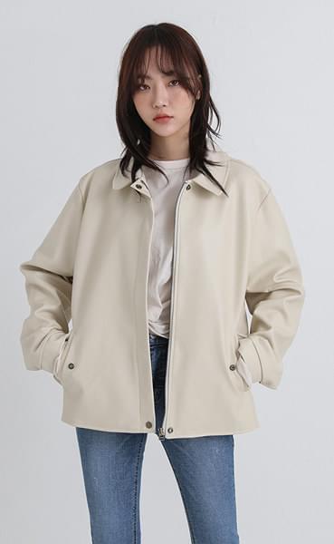 creamy leather blouson jacket