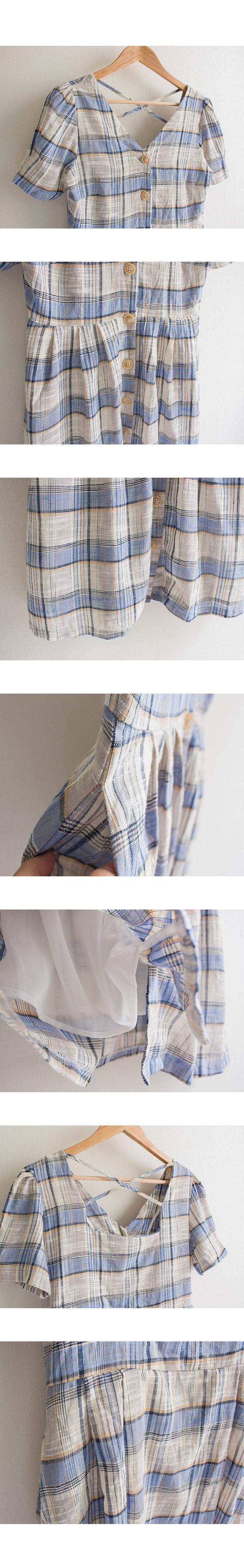 Marl Linen Button Check Dress