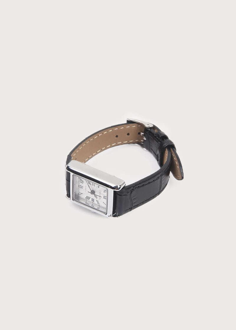 silver frame watch