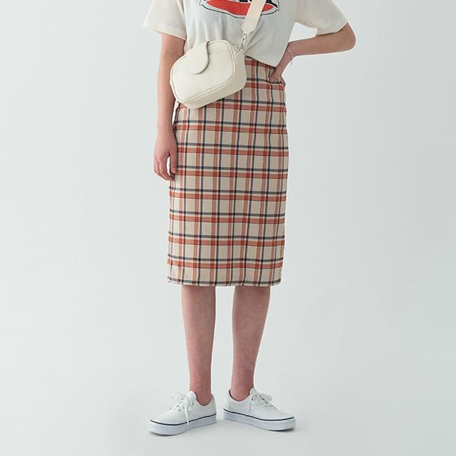 colorful check midi skirt