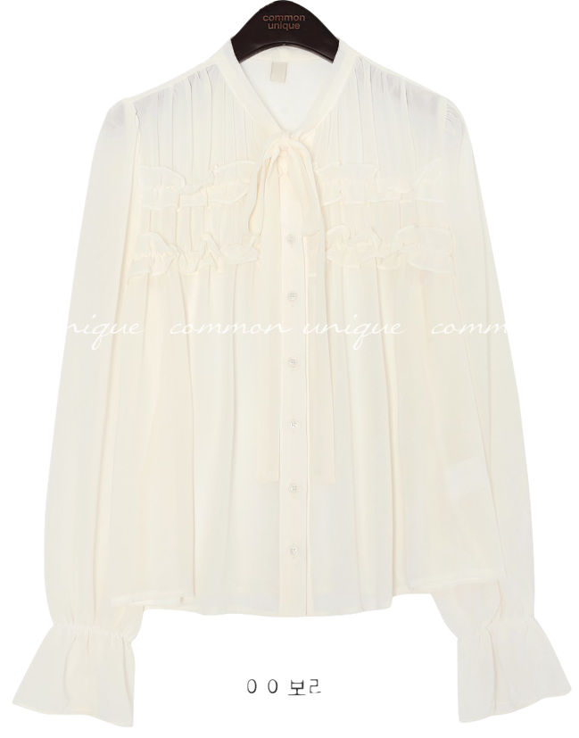 LOVELY FRILL TIE CHIFFON BLOUSE
