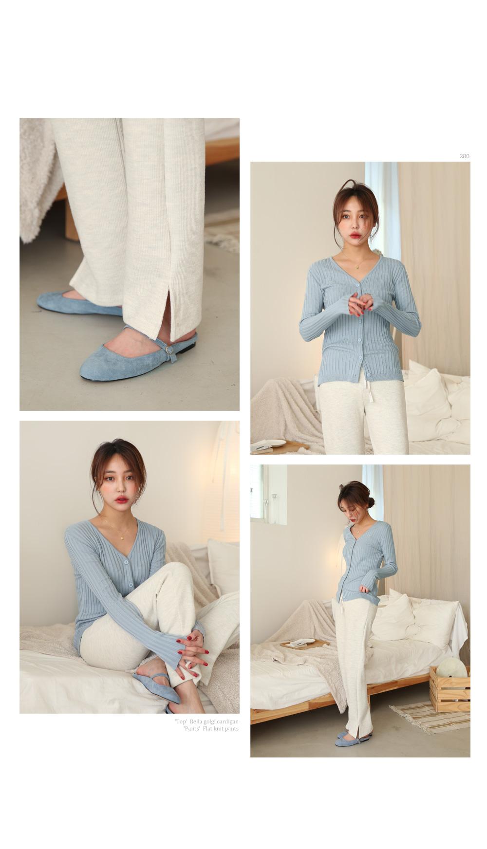 Flat knit pants