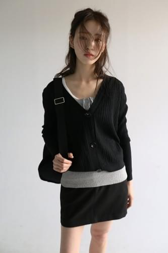 soft ribbed v-neck cardigan (8colors)