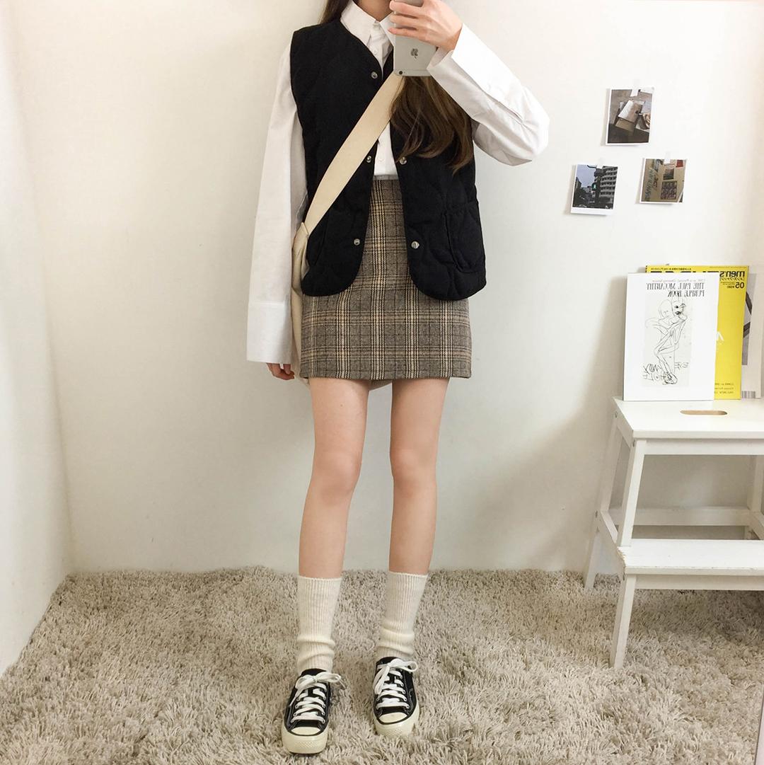 Coco check line skirt
