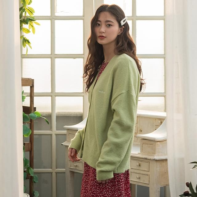 embroidery loose fit cardigan