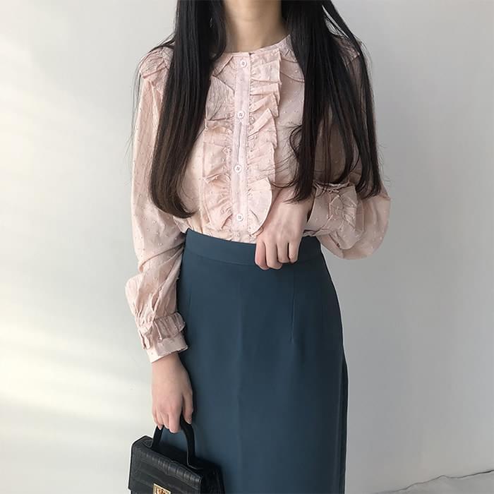 H line high waist back long skirt