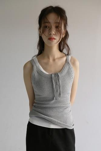 3-button ribbed sleeveless (4colors)