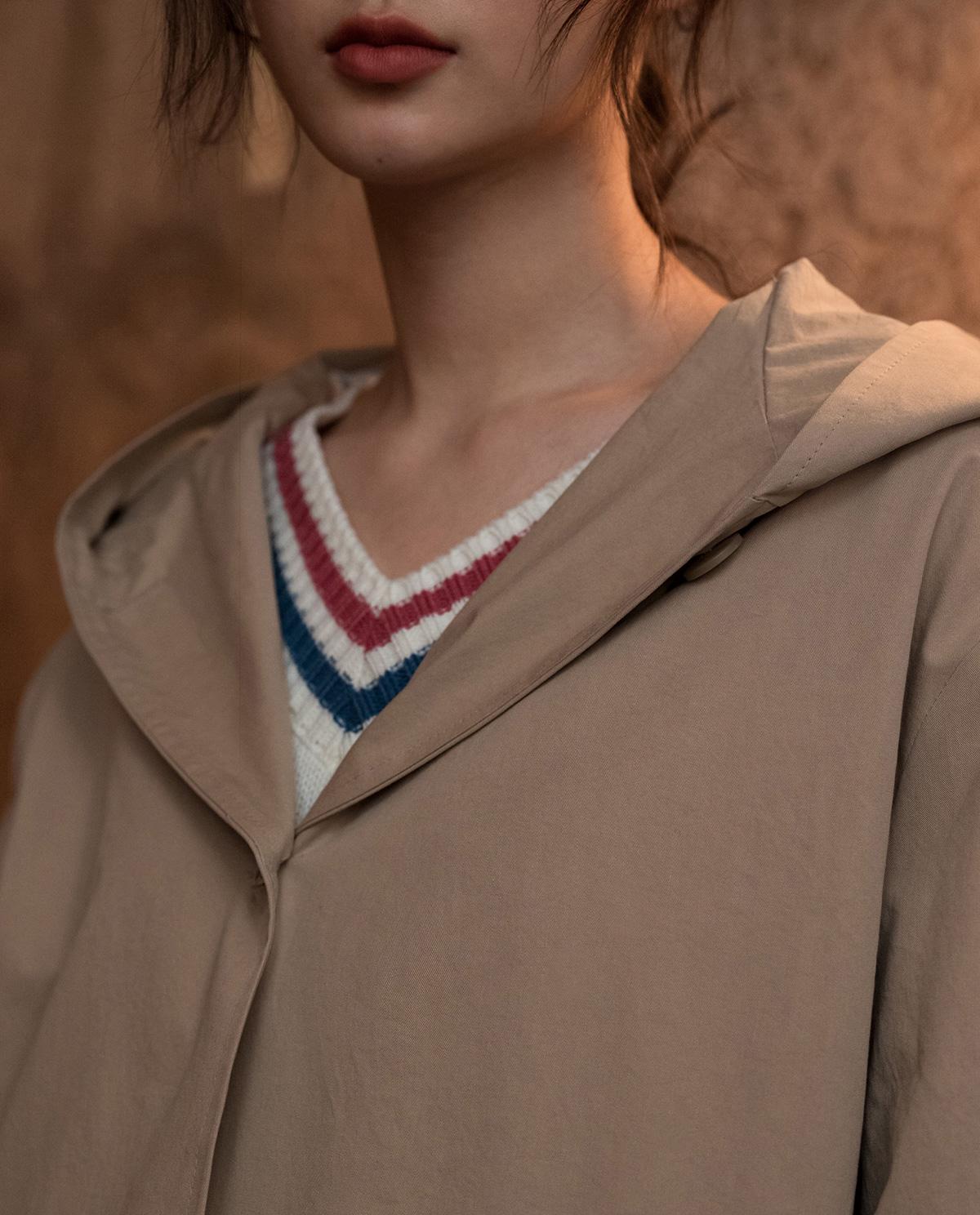long hood trench coat