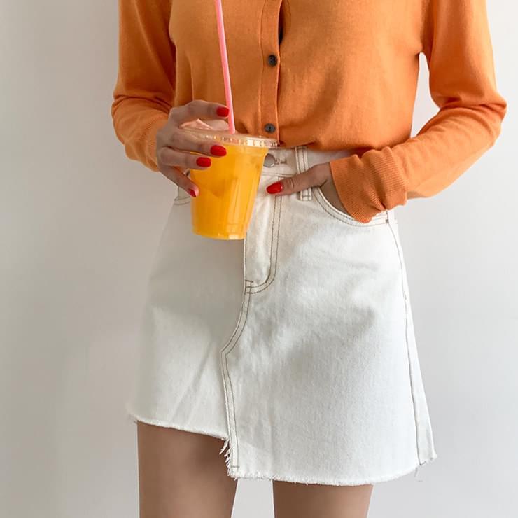 Bucket stitch cotton skirt