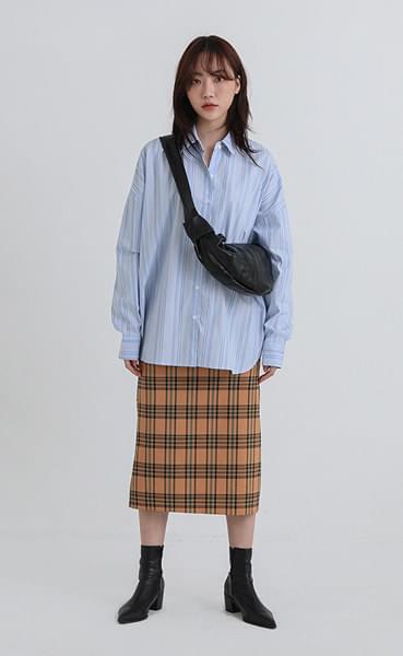 viva check banding long skirt
