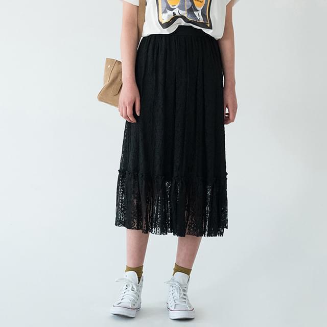 Lace Banding Long Skirt-sk