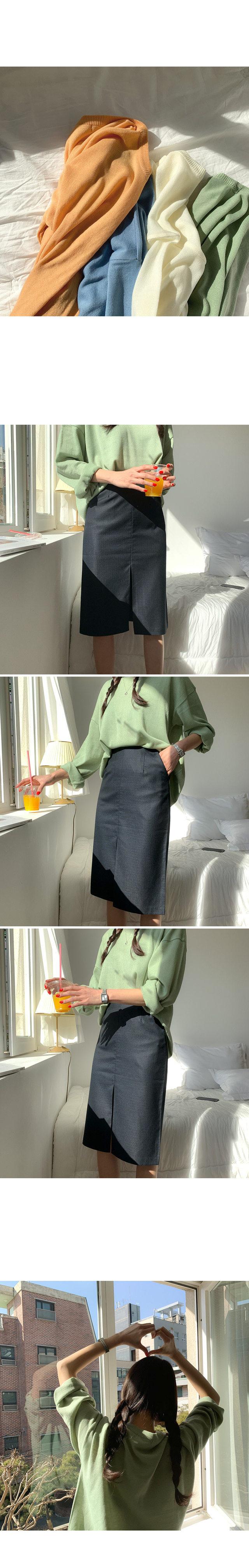 Pair Check Slit Skirt