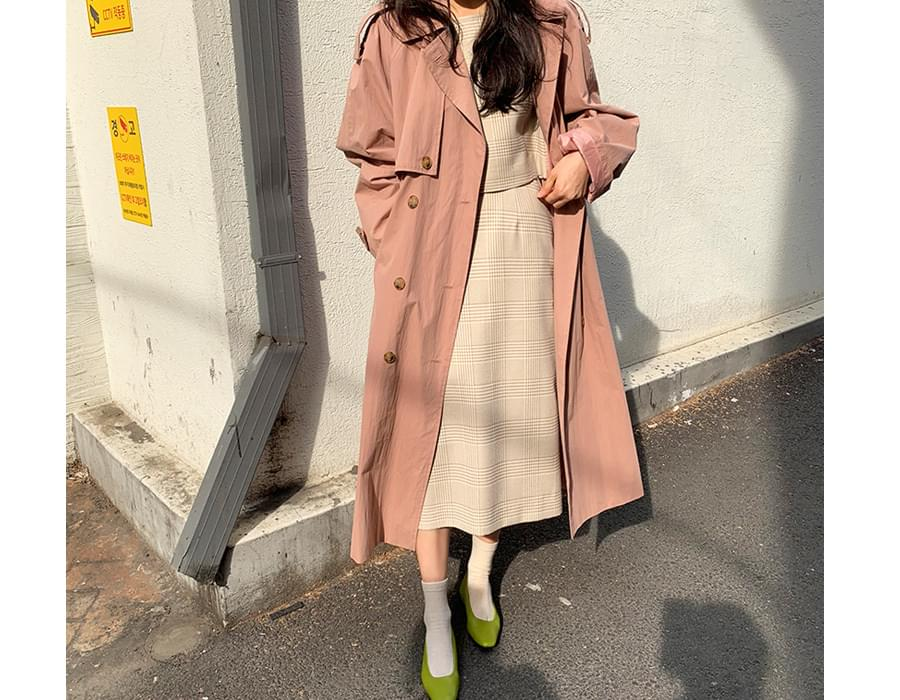 Latte double trench coat_K (size : free)