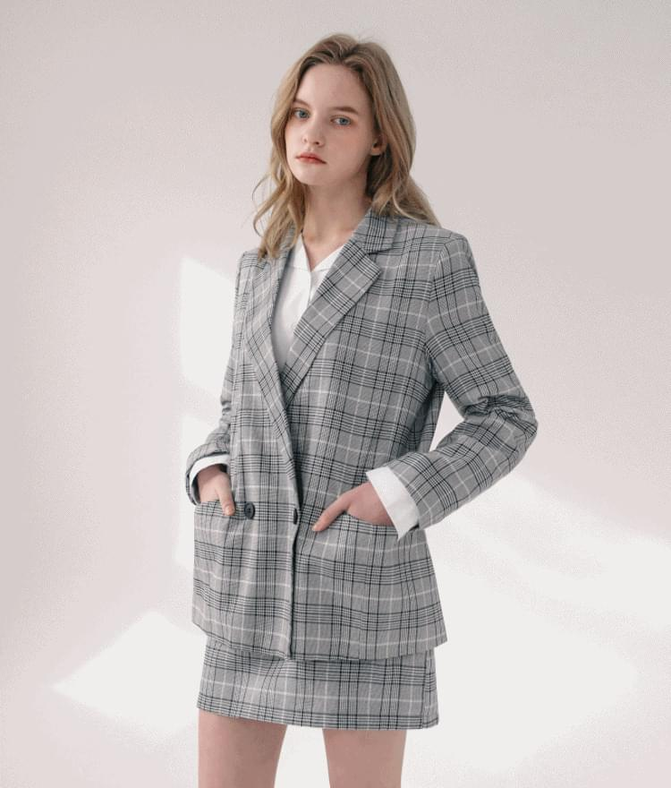 Double check jacket Double check skirt set goods